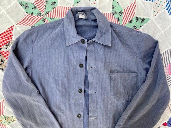 Vintage European French Slate Blue Chore Coat Jac… - image 1