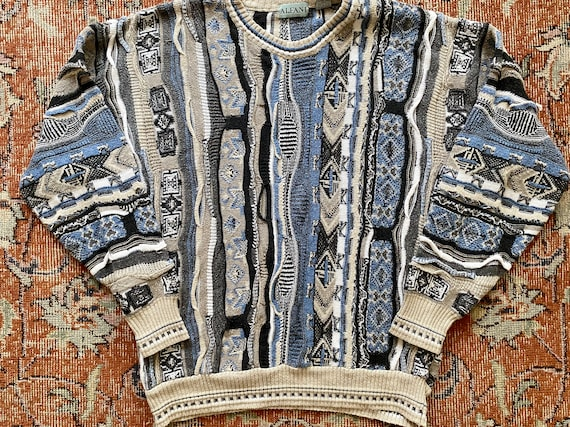 Vintage 90s Alfani Coogi Style Knit Pullover Sweat