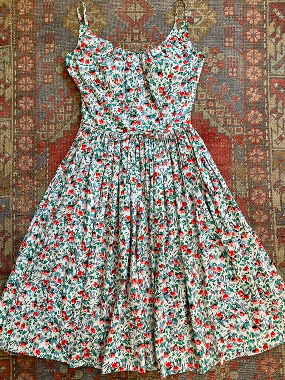 Vintage 50s Marjorie Montgomery Floral Fit and Fla