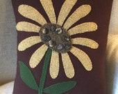 Primitive Folk Art Farmhouse Flower Wool Applique Penny Rug Pillow - Sunflower