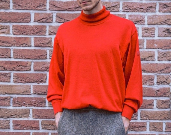 Rolli Red/vintage turtleneck sweaters/men sweaters red/vintage sweater/80s sweater/men's sweater Red