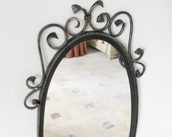 Large wardrobe mirror/mirror wrought iron/1960 's Mirror/vintage mirror/1960s mirror