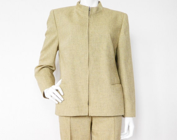 Suit silk/vintage suit/trouser suit/80s blazer trousers/1980 's pantsuit/vintage jacket trousers