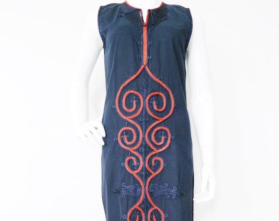 1970 's dress made in Egypt/70s dress/vintage dress cotton/Vinatge dress blue/Dress Embroidered