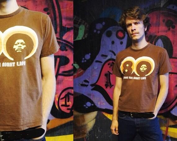 80s shirt men / vintage shirt / 80s shirt brown / streetyle shirt / funky shirt / 1980s t-shirt