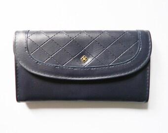 11d0c5f67df13 Große Geldbörse   vintage Geldbörse blau   Kunstleder geldbörse   1970s  Portemonnaie   vintage purse blue