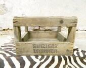 antique wooden box Sinziger Brunnen 1930 vintage wooden box bottle box old wooden box advertising transport box
