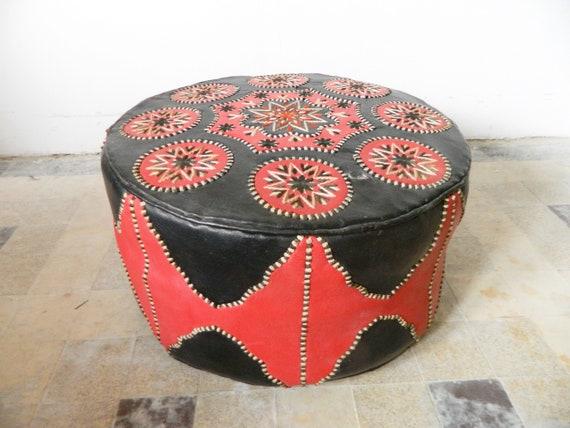 Seat pouf 70s/leather seat/floor cushion/vintage seat cushion/colorful seat