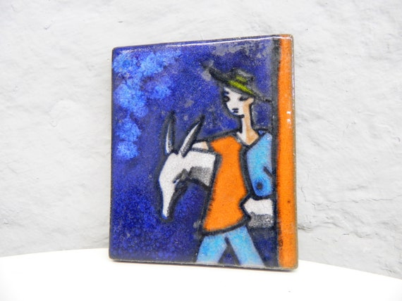 50s picture/Ceramic picture/Picture Donkey/Ceramic Glazed/1950s home accessories/mid century/Wall Decoration