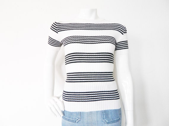 70s stretch-jumper/vintage sweater/Short sleeve/vintage sweater stripe/vintage top/sweater striped