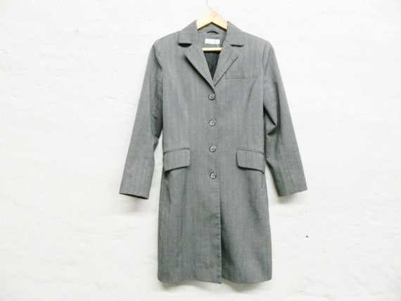 80s Long Blazer/Jacket grey/vintage coat/blazer coat/Pinstripe Blazer Comma