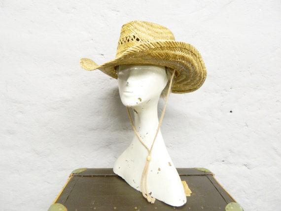 80s straw hat/cowboy hat straw/vintage hat/western hat/sun hat