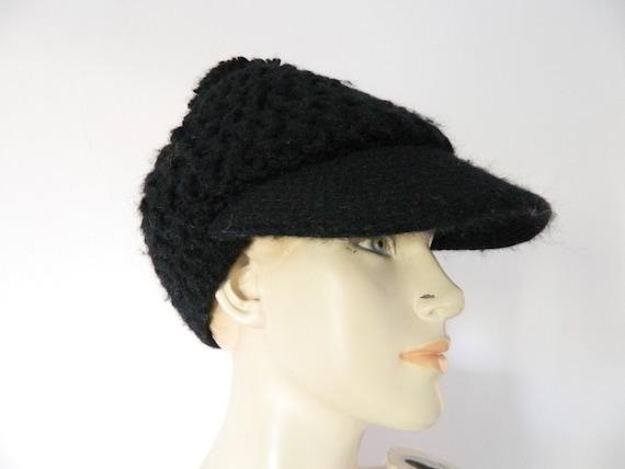 Cap Wool/wool cap/winter cap/knit cap/1970 's beanie/vintage cap Black/winter cap