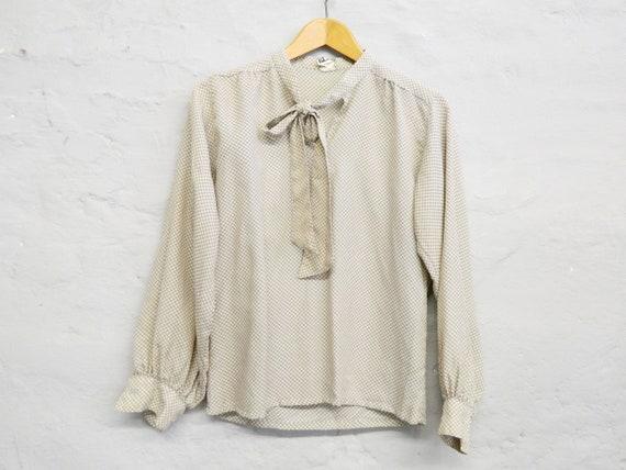 50s Blouse/vintage Blouse beige/Slip Blouse/blouse brown/50S top