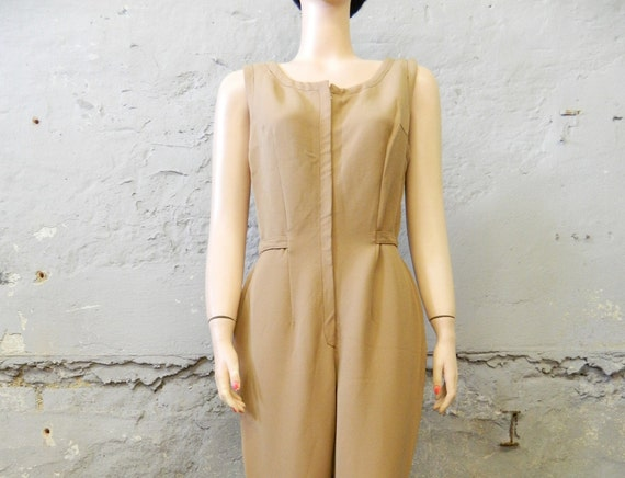 1960s Jumpsuit / vintage jumpsuit / one-piece / 60s suit light brown / stretch jumpsuit / steghose