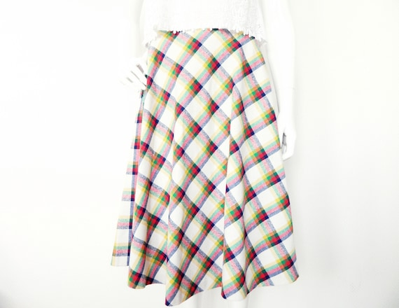 70s skirt/vintage skirt plaid/skird mod/70s skirt/vintage rock/skirt diamonds