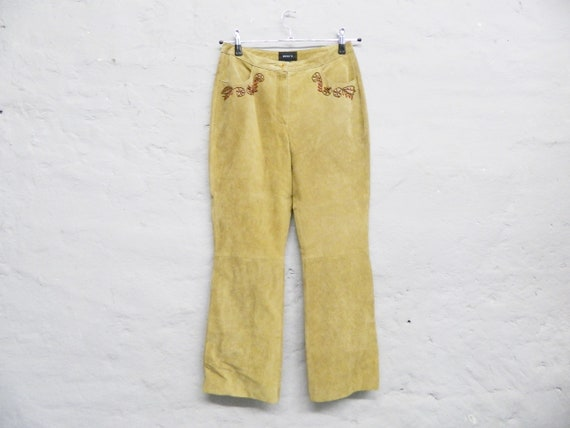 80s leather pants/suede pants/vintage pants leather/boho pants/pants embroidered with beads/pants beige