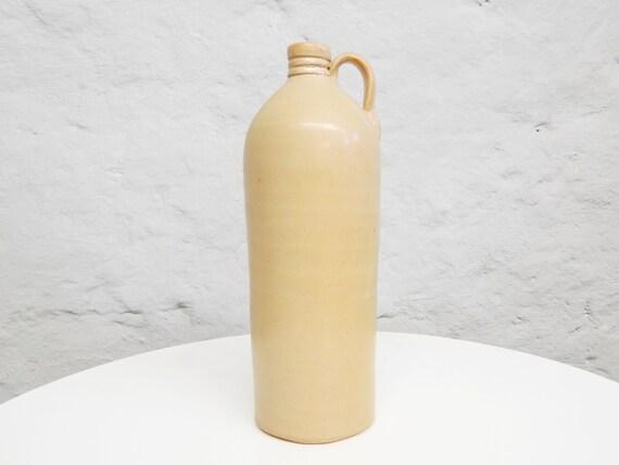 Large earthenware bottle / vintage vase earthenware / bottle light brown / handle bottle / vintage decoration
