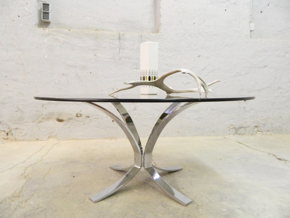 70s coffee table/living room table glass Chrome/coffee table round/vintage glass table 70s
