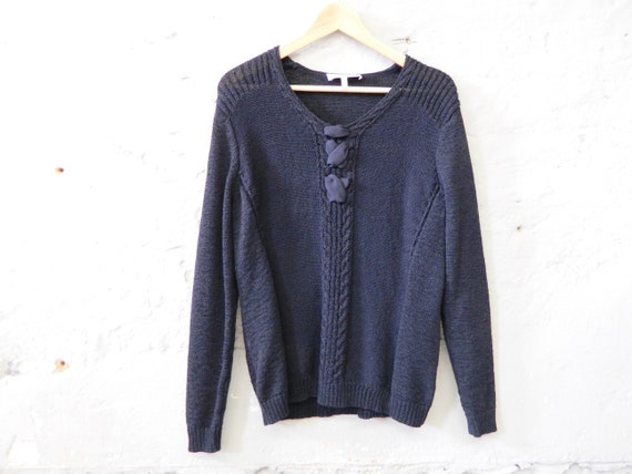 Sweater dark blue / 1990s sweater / sweater blue with lacing
