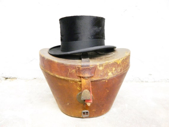 Chapeau/cylinder with leather suitcase/suitcase and hat/cylinder ice/vintage hat/cylinder antique