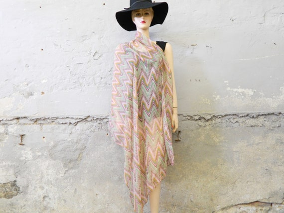 XXL scarf/vintage cloth/80s scarf/stole/pastel/zigzag pattern