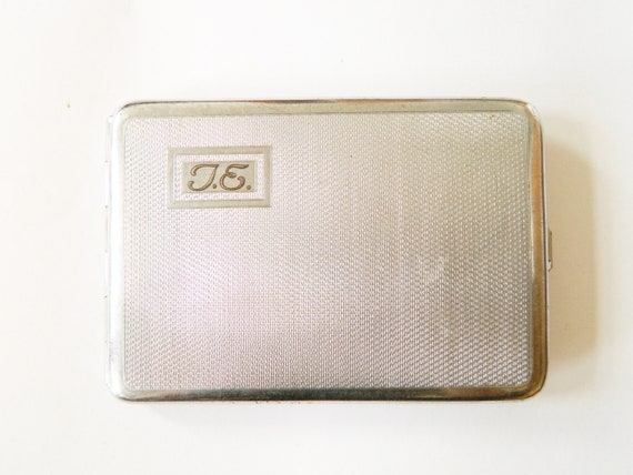 50s cigarette can/vintage cigarette can I.E./cigarette case/vintage can silver