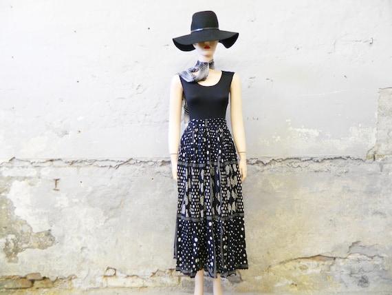 80s skirt/vintage skirt long/maxirock/skirt cotton black white/hippie