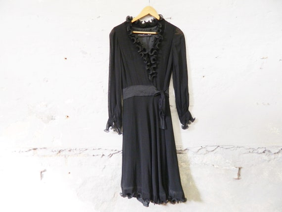 70s evening dress / vintage dress black / dress wi