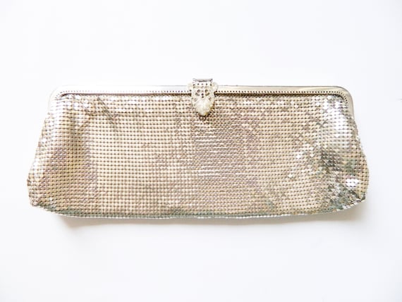 Sixties evening bag/vintage clutch metal/60s clutch/60s clutch silver/metal Party bag/vintage handbag