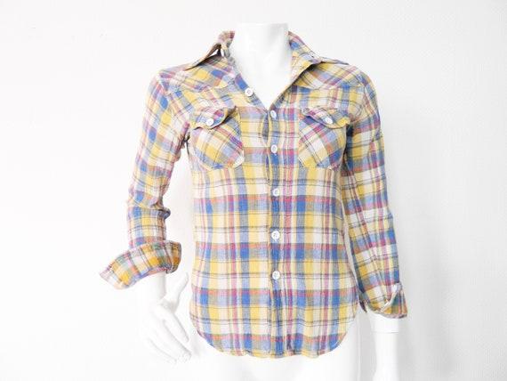 70s blouse/vintage blouse checkered/vintage blouse/70s blouses/1970 's Blouse