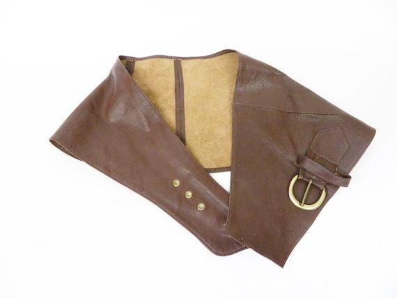 1980s belt leather brown wide / apron belt / vint… - image 3