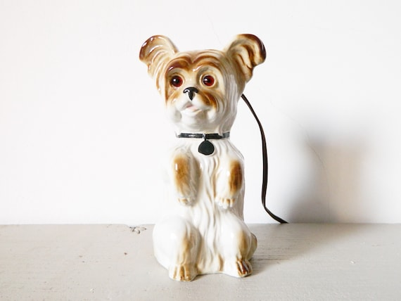 Porcelain dog/vintage lamp/lamp dog/Table lamp, 40s lamp/1940 's lamp/lamp porcelain/Art Deco lamp