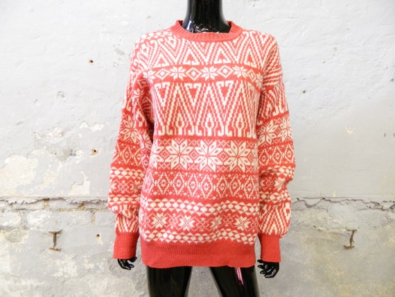 1980s Sweater Mc Neal Virgin Wool Beige Red / vint