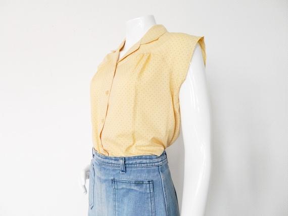 Rockabilly blouse/vintage blouse dots/rockabilly blouse/60s blouse yellow dotted/blouse dots
