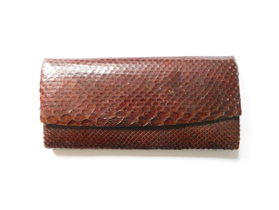 Vintage clutch/70s Clutch snake synthetic leather/vintage bag/70s handbag brown/1970 's Bag brown