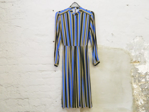 70s dress striped/vintage dress/stripe dress blue/dress long sleeved