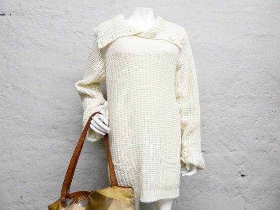 Oversize sweater/80s sweaters/pullover wool/80s sweater, vintage sweatshirt Beige XXL/long jumper