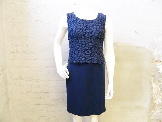 60s Dress Blue wool/Blue Etuidress/vintage Dress Blue/Evening Dress