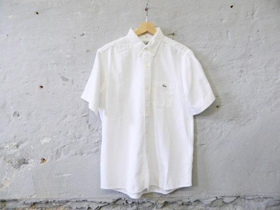 80s shirt Lacoste/men's shirt white cotton/vintage shirt men/short sleeve shirt