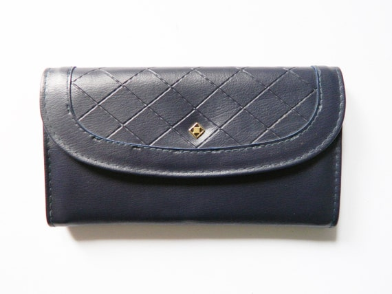 Big Purse/vintage purse blue/artificial leather purse/1970 's wallet/vintage purse blue
