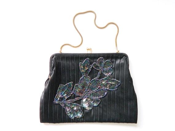 Evening Bag/Vintage bag/1960 's Bag/bag embroidered/party bag/theater bag/bag black/60s bag