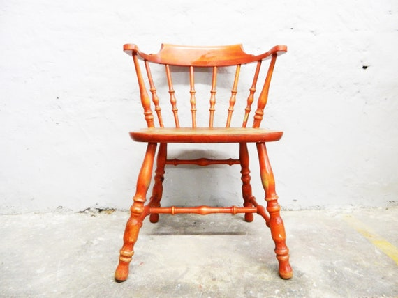 Vintage Chair/Shabby Chair/Red Wood Chair/30s Chair Wood/Shabby Furniture/Chair Red