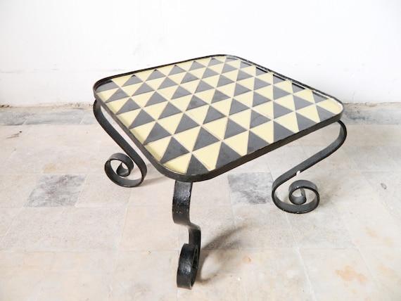 60s flower table/tile table/side table/flower bench