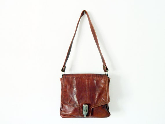 70s leather bag/vintage handbag leather brown/vintage handbag/70s leather bag/70s bag leather/vintage leather bag Brown
