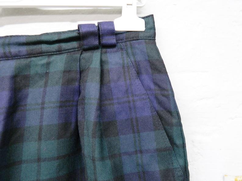 vintage shorts green black blue checkered  checkered shorts virgin wool  vintage pants plaid  oversize pants short 1980s