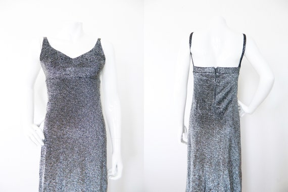 70s evening dress/vintage dress/evening dress/evening gown/party dress/vintage dress/70s dress black silver/Maxi dress