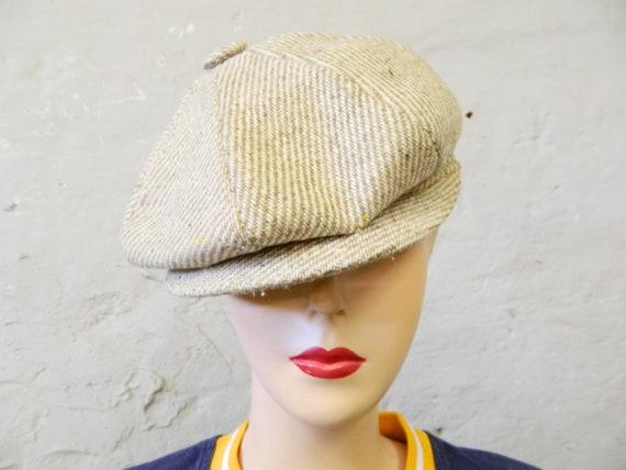 70s wool hat/cap/vintage cap/70s hat/cap beige brown