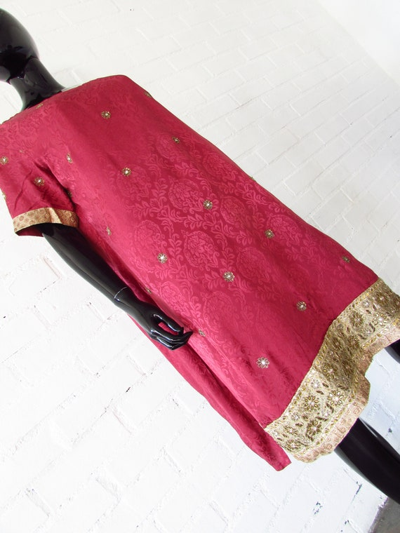 1970s dress Indian embroidered / brocade dress / … - image 7