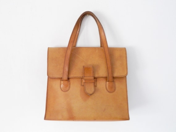 1970 's Bag leather/leather case brown/bag light beige/70s bag/70s leather bag/vintage bag leather/vintage Bag